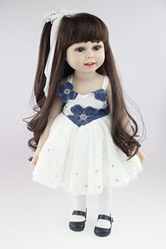 NKToy 18inch 45cm Reborn Baby Doll Long Hair Lovely Girl Toy Doll Lifelike Movable Washable Beautiful Skirts