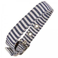 Blue & White Stripe Fabric Dog Collar