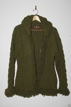 Artesanias Hooded Womans Sweater Jacket 100% Green Wool One Size Fits Most