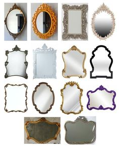 These funky, ornate vintage (or vintage-inspired) mirrors would look terrific in a range of bathroom styles, from eclectic to traditional to sleek modern. In fact, I think my favorite combination is to put an ornate vintage mirror in a very modern bathroom. Instant character.