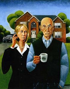 "Baby boomers portrayed in a 2003 parody of ""American Gothic."""