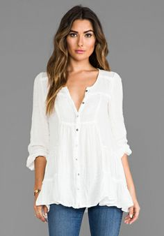 FREE PEOPLE Whistle While You Work Tunic in Snow - Free People