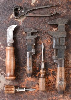 Realistic Graphic DOWNLOAD (.ai, .psd) :: http://vector-graphic.de/pinterest-itmid-1006648513i.html ... Antique Tools ...  antique, brown, corroded, corrosion, hand tool, handle, knife, metal, old, orange, pipe, pipe wrench, pliers, rust, screw drivers, spanner, tools, used, wooden, wrench  ... Realistic Photo Graphic Print Obejct Business Web Elements Illustration Design Templates ... DOWNLOAD :: http://vector-graphic.de/pinterest-itmid-1006648513i.html
