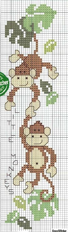 monkeys cross-stitch bookmark