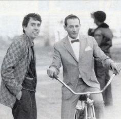 pee wee herman and tim burton on the set of pee wee's big adventure