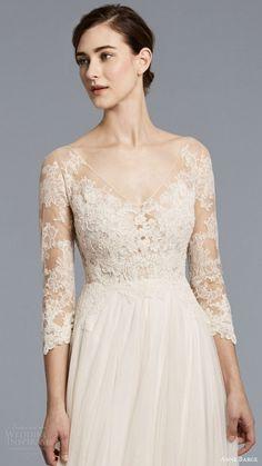 anne barge spring 2018 bridal 3 quarter illusion sleeves v neck lace bodice a line wedding dress (ava) zfv