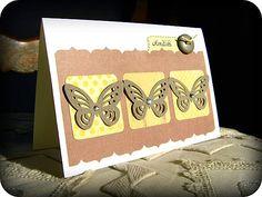 Clean and simple butterflies scrapbooking card. // Carte scrap clean and simple, trio de papillons. // See more at / Voir plus sur : http://scrap-ines.over-blog.com