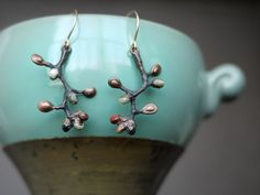 Electroformed Copper Branch Earrings  Olive Branches by pookaqueen