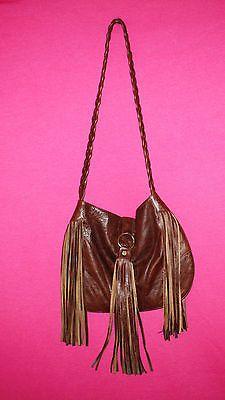 JJ Winters Distressed Leather Fringe Hobo Bohemian Brown Purse | eBay