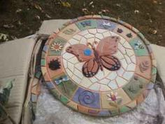 ceramic inlaid garden stepping stones with butterflies