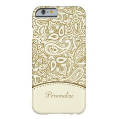Add a touch of glamor to your wardrobe with this sophisticated gold and white paisley damask slim iPhone6case. Personalize this chic white and gold paisley fashion accessory by adding your name.