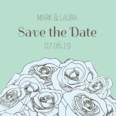 A vintage Save The Date Wedding Invitation with a light green background, floral illustration, and contrasting text. Vintage Save The Dates, Floral Illustrations, Green Backgrounds, Special Day, Wedding Invitations, Dating, Vintage Invitations, Quotes, Wedding Invitation Cards