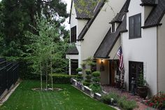The trees were not there when house was purchased, so we added 3 Blond Birch.  We also added new sod. English Tudor, Santa Clara, Birch, Blond, Sidewalk, Trees, Cottage, House, Home