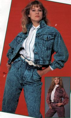 Stone Washed Denim Jacket and Pants from a 1988 catalog #vintage #fashion #1980s