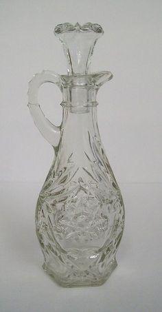 Vintage Anchor Hocking Star of David Glass Oil Vinegar Cruet with Glass Stopper