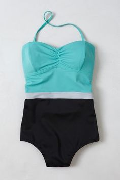 Colorblocked Swimsuit >> Anthropologie. I usually hate all swimsuits but this looks adorable.