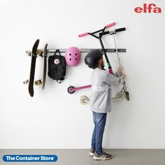 Shop our Elfa Utility components for great storage for sports equipment, tools, and more! Peg Board Walls, Metal Pegboard, Container Store, Garage Organization, Sports Equipment, Tools, Storage, Shop, Design
