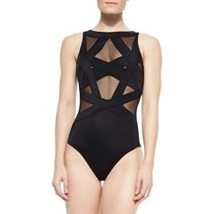 OYE Swimwear Esther Strappy Mesh One-Piece Swimsuit (€315) ❤ liked on Polyvore featuring swimwear, one-piece swimsuits, beach, swim, black, swim suits, one piece swimsuits, one piece bathing suits, beach wear and strappy swimsuit