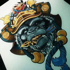 tattoos in japanese prints Neo Tattoo, Chest Tattoo, Tattoo Gorilla, Body Art Tattoos, Tattoo Drawings, Samurai Helm, Corvo Tattoo, Samourai Tattoo, Graffiti Characters