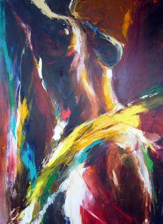 ombre et lumière - Peinture,  80x110 cm ©2009 par Christian Vey -            femme nue en couleur