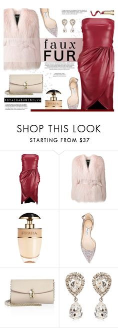 """Faux Fur Coats"" by aidasusisilva ❤ liked on Polyvore featuring Boohoo, Balmain, xO Design, Prada, Jimmy Choo, Dolce&Gabbana, Anja and fauxfurcoats"