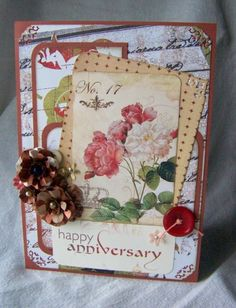 Happy Anniversary handmade greeting card