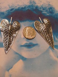 Sterling Silver Ox Plated Brass Leaf Pendants 671SOX x2 by dimestoreemporium on Etsy