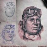 A Portrait of Permanence: WWII Pilot / Aviator Black and Grey Tattoo - Larger image at: http://www.tattoosinflight.com/2012/07/03/portrait-of-permanence-wwii-pilot-aviator-black-and-grey-tattoo/