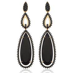 Brinco Ouro Amarelo Diamantes Negros e Quartzo Negro Charlotte