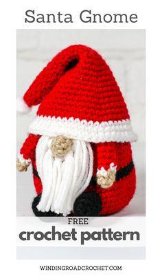 Crochet Santa, Crochet Home, Cute Crochet, Crochet Christmas Decorations, Christmas Crochet Patterns, Christmas Projects, Christmas Ideas, Gnome Hat, Winding Road