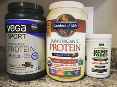"""My three favorite plant-based protein powders. Vega (in any flavor) is by far my favorite. Onnit's hemp force comes in second but gram for gram is on the pricey side. Garden of Life's Vanilla Chai protein comes in third but honestly their """"new and improved"""" has me considering new top contenders (I'll still give it another chance). What's your favorite #protein powder - plant based or otherwise?"""