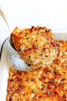 These are the BEST Potatoes Au Gratin with Bacon you will ever try! They are wonderfully creamy and cheesy with layers of tender, buttery potatoes, Gruyere cheese, bacon and onions drowned in herb cream.