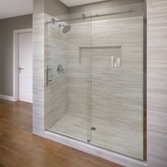 "Basco Vinesse 76"" x 59"" Single Sliding Fixed Panel Shower Door Trim Finish: Chrome, Glass Type: AquaGlideXP Clear Glass"