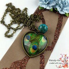 """Halskette """"Pfauenfeder"""" #1122 von Hobby-Fun/kreative Schmuckideen auf DaWanda.com"""