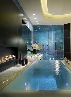 Beautiful eternity bath in an amazing bathroom. What a great idea for the home