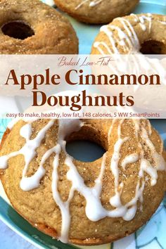These low-fat WW friendly Baked Apple Cinnamon Donuts will satisfy your sweet tooth without resulting in a sugar high/crash - only 148 calories and 5 Weight Watchers Freestyle SmartPoints! Pumpkin Donut Recipe Baked, Baked Apple Dessert, Apple Dessert Recipes, Ww Desserts, Weight Watchers Desserts, Baked Pumpkin, Donut Recipes, Ww Recipes, Awesome Desserts