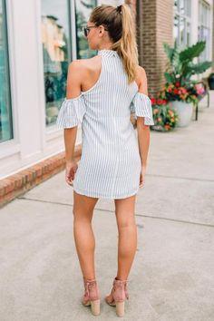 Cold Shoulder & Stripes Dress