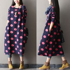 Women Cotton large size blue long sleeve winter and autumn maxi dress - Tkdress - 1