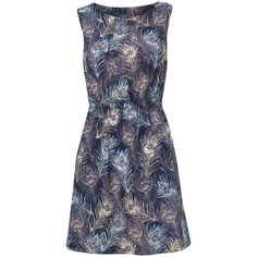 Print By Kerri O'Brien for Navy Peacock Feather Print Tea Dress in NEW IN from Apricot