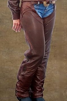 Biker Apparel: Women's Chaps Brown Leather with Brown Crocodile Accents - Own A Pair Of Custom Made!
