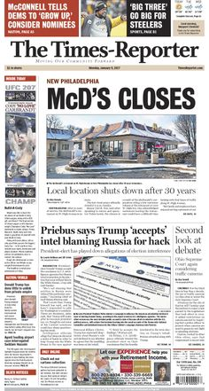 The Times-Reporter front page for Jan. 9, 2017. www.timesreporter.com