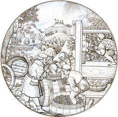 September – Augsburger Monatsbild - Entwurf von Jörg Breu.  12 Augsburger Monatsbilder als Scheibenrisse. Die Originale wurden von dem Augsburger Maler Jörg Breu d.Ä. [1475/80 bis 1537] erstellt. Bis auf zwei sind die Originale verloren gegangen.  Hier sehen wir 12 Kopien von einem zeitgenössischen Künstler mit den Initialen HB. Dabei handelt es sich mutmaßlich um den Augsburger Malerkollegen Hans Burgkmair d.Ä. [1473-1531]  Die Zeichnungen werden in Göttingen, Kunstsammlung der Universität…