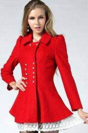 Lace Hem Turndown Collar Double Breasted Red Coat