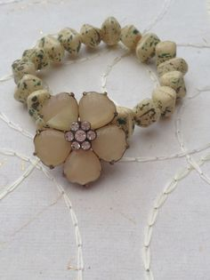 Yellow/beige and green glass beaded handmade elasticated