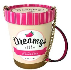 Kate Spade Flavor Of The Month Strawberry Ice Cream Pint Bag is perfect for summer! Made from genuine cowhide leather with 14-karat gold plated chain link detail! #Kate_Spade #ice_cream #pink #strawberry #handbag #purse #bags