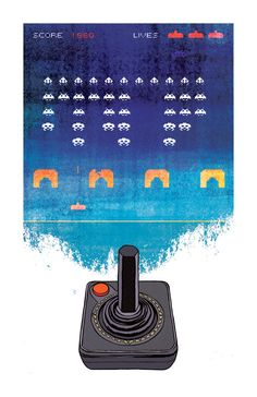 SPACE INVADERS Atari 2600 Retro Vintage Classic Video Game Art Print 11x17 by Rob Osborne.