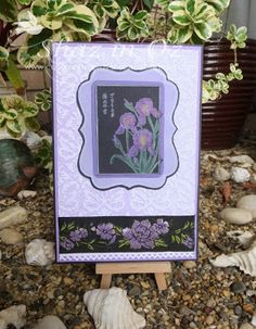 This card was stamped in white on black card then coloured with my Art (Caran D'Ache) pencils. Used 5 x 7 Cuttlebug Kassie's Brocade embossing folder brayered in SU Lavender lace ink pad for the background. Mounted image on Double layered Crafts-Too (Labels 2) Nesting die. Edged with some braid used for first time and toned in so well, with punched white card edge of Arrow EK Success punch.