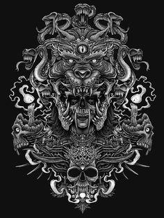 tattoos - Winya No 129 Slim Fit TShirt Backpiece Tattoo, Skull Tattoos, Chest Tattoo, Body Art Tattoos, Tattoo Drawings, Sleeve Tattoos, Aztec Tattoo Designs, Dark Art Tattoo, Satanic Art