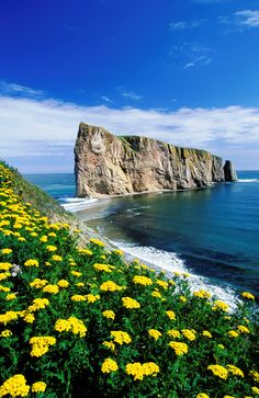 Percé Rock is one of the world's largest natural arches located in water. Located in Quebec, Canada.