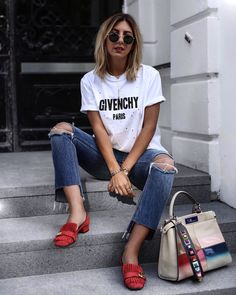 Givenchy statement shirt | Gucci marmont shoes red | Fendi peekaboo bag and strap